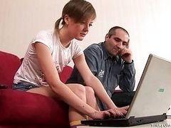 Молодая студентка сдает экзамен у препода дома