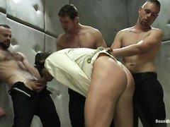 Три гомосека связали бедного парня и выебали его